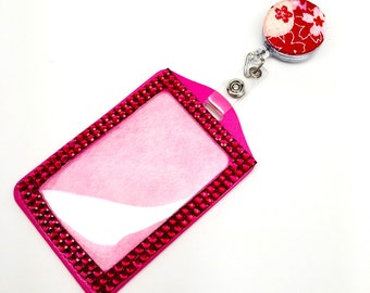 SALE !!!! Fuchsia Flower Fabric Button Retractable ID Badge Reel & Sparkle Rhinestone Vertical ID Badge Holder Set