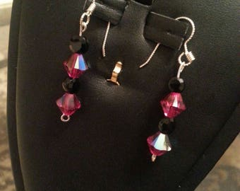 Swarovski crystal earring's with black glass beads