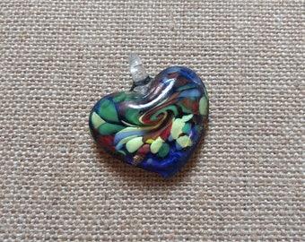 Lampwork Glass Pendant, Heart Pendant, Necklace Pendant, Glass Necklace Pendant, Jewelry Pendant, Glass Bead Pendant, Multi Colored Pendant