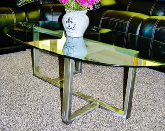 Steel Framed Glass-Top Coffee Table