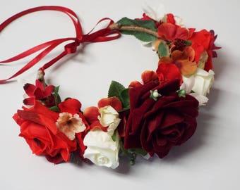 Red & White flower Crown