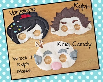 Wreck It Ralph Inspired Felt Masks- Ralph-VAnellope-King Candy-Child's Dress Up Imaginary Play- Birthday Party Favor-Photo Shoot-Theme Party