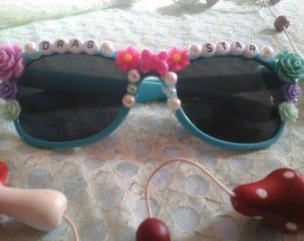 Drag star embellished sunglasses