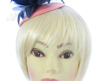 Navy blue and dusky pink satin juliet cap and headband, fascinator /hatinator weddings, races, ladies day