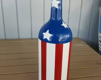 American flag painted wine bottle