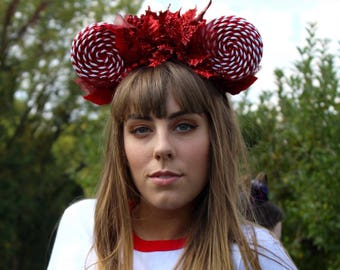Candy Stripe Holiday inspired Mouse Ears
