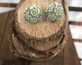 Yellow Flower Fabric Button Earrings