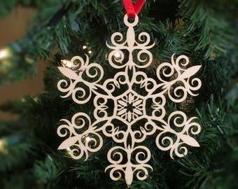 Snowflake Christmas tree ornament, Decoration, Laser Cut, Birch, Wood