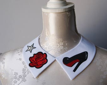White collar necklace with embroidery patches red flowers roses heels detachable peter pan collar removeable accessories for women