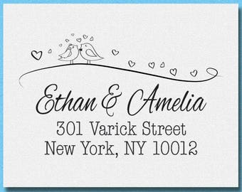 Personalized Love Birds Address Stamp, Cute Love Birds Stamp, Return Address Rubber Stamp, Wedding Stamp, Invitation Address Stamp