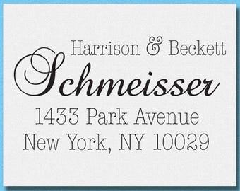 Calligraphy Return Address Stamp - English Stylish, Personalized Address Stamp, Personalized Wedding Return Address Stamp