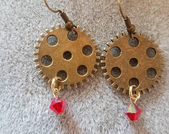 Steampunk 1.5 inch pierced drop earrings with Swarovski crystals.
