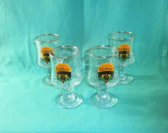 set of 4 liqueur-/ Irish coffee glasses, gilden rim/ Coffee specials/ vintage