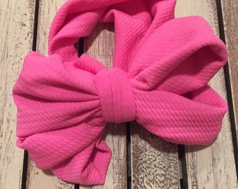 Hot pink messy bow turban head wrap