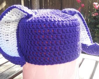 Crochet Beanie with Rabbit/Bunny Ears and Detachable Tail