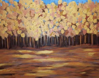 Golden forest - original abstract acrylic painting on canvas
