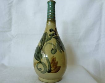 VJ879:Long Neck Bottle/Vase,Japanese Okinawa ArtWork,collectible Stoneware pottery Bottle/Vase with Floral pattern,Handcrafted in Okinawa