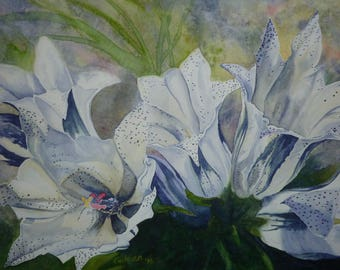 Arctic Gentians, Set of 5 Note Cards with Envelopes from Original Watercolor Painting