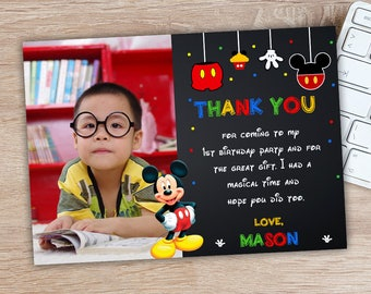 ON SALE 30% Mickey Mouse Birthday Thank You Card - Mickey Mouse Thank You - Mickey Mouse Birthday Party Printables - Mickey Mouse Birthday