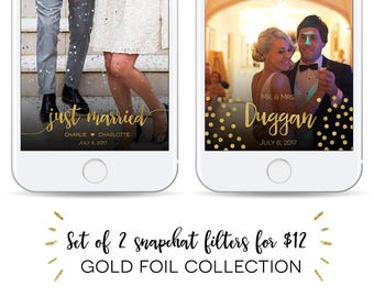 Set of 2 Customized Gold Foil Wedding Snapchat Geofilters! Gold dots, Mr. & Mrs, Just Married, I do, Pair, We Do, Snap Chat Filter