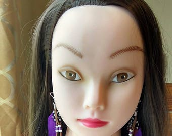 Purple feather earrings, Native-American earring. Indian-American jewelry