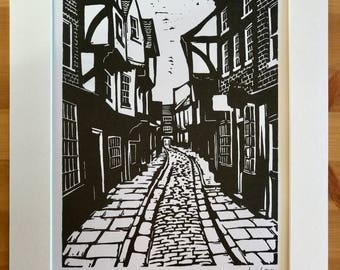 Signed Linocut Print of The Shambles in York by Maurice Ingham