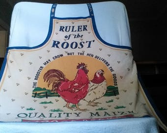Vintage Rooster and Hen Full Apron