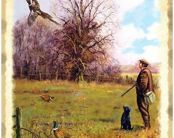 Gamekeeper Hunting Pheasant, Labrador, English Countryside, Small Metal/Tin Sign