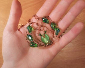 "Copper wire pendant with handmade chain ""Snake Flower"""