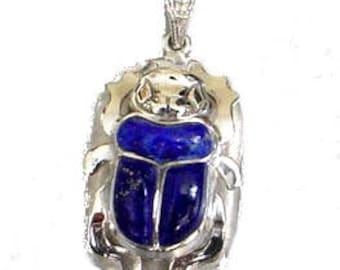 Egyptian Silver scarab w/ Lapis Stone pendant- Egyptian Necklace