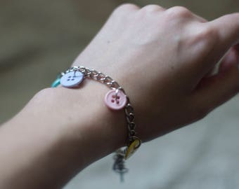 Pastel Button Charm Bracelet