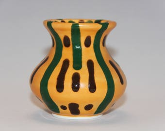 Bright Little Handmade Ceramic Vase   Wheel Thrown   Green & Brown Drips   Drippy Vase   Curvy Vase