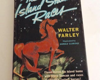 The Island Stallion Races by Walter Farley, Pictures by Harold Eldridge, Hardback, First Printing, DJ, 1955, Random House, Chapter Kids Book