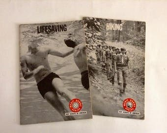 Hiking and Lifesaving Set of 2 booklets, Boy Scouts of America, Merit Badge Series, 1970s Editions