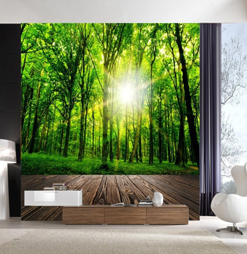 3D Forest Wallpaper mural Wall Print Decal Wall Deco Indoor wall