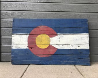 Large rustic Colorado flag, pallet wood, wall art, hand painted, reclaimed wood **FREE SHIPPING**