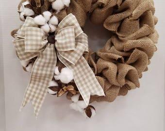 Burlap and Cotton Wreath