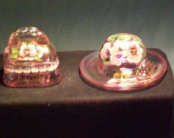 Fenton Two Pink Hand Painted Limited Edition Trinket Box And Pin Holder