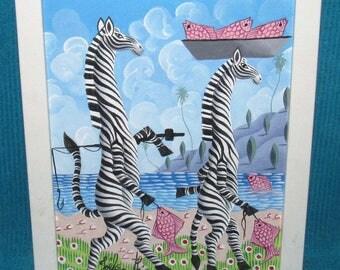 Joel Gauthier (Listed Haitian Artist) Original Painting Colorful Whimsical Fishing Zebras Framed