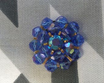 Vintage Blue Beaded Brooch