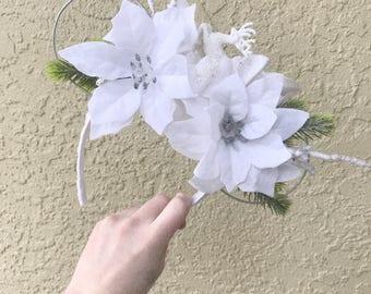 Winter christmas custom floral minnie ears