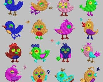 Embroidery birds cute 16 birds