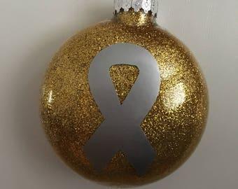 Customizable Christmas Ornament- Cancer Awareness Ribbon