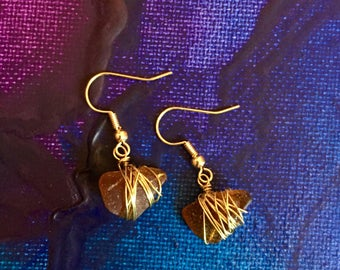 Wire Wrapped Brown Seaglass Gold Earrings