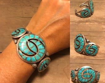 Vintage Zuni Bracelet, Native American Jewelry, Vintage Native American Bracelet, Turquoise Bracelet, Western Jewelry, Old Pawn Jewelry