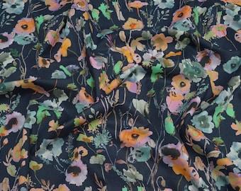 Lady McElroy Watercolours Marine Cotton Lawn
