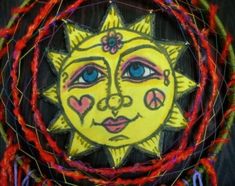 Peace Love and Sunshine Dreamcatcher, Mandala, Native American, Energy Art, OOAK, Feng Shui, Zen, Yoga