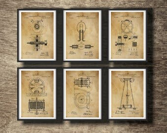 Tesla art etsy tesla print set of 6 inventions tesla blueprint tesla art print nicola tesla malvernweather Gallery