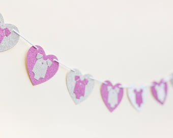 Pink & silver baby girl garland, baby shower banner, wall decor, party garland