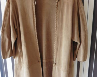 Vintage Cape/Indian Jacket/Brown Cape/Short Sleeves Cape/L Size
